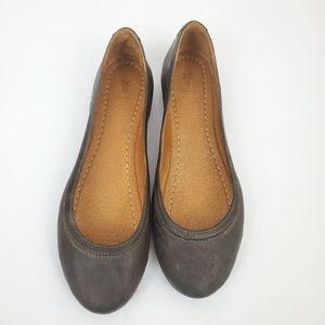 Frye Carlson Gray Leather Ballet Flats 8.5